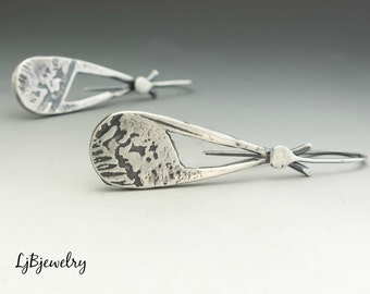 Silver Dangle Earrings,  Drop Earrings, Sterling Silver, Metalsmith, Metalwork, Handmade, Artisan Jewelry