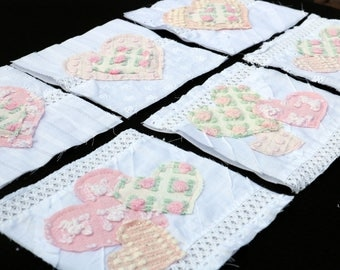 VINTAGE CHENILLE Rag Quilt Appliques 6 inch Squares Pink and White So Beautiful!