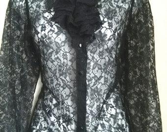 Vintage black lace blouse medium
