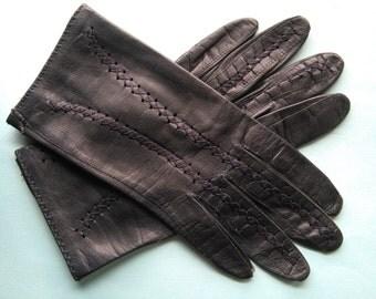 Vintage dark blue leather gloves sz 6 sml