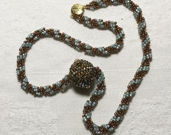 Beaded Ball Pendant Beadwork Pendant Beadwoven Pendant Beaded Bead Necklace Spiral Rope Necklace Bead Sphere Pendant Seed Bead Pendant
