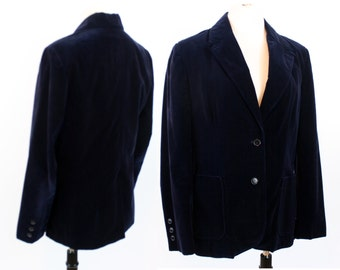 "Vintage 70s 80s Navy Blue Velvet 3-Button Women's Blazer Jacket Coat~Size 12~38"" Bust~PERSONAL~Fully Lined~"