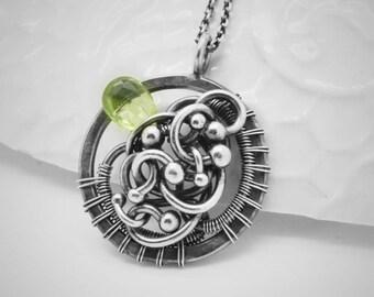 Wire wrapped peridot pendant, Pendant with green peridot, Unisex jewelry, Peridot necklace, wirework