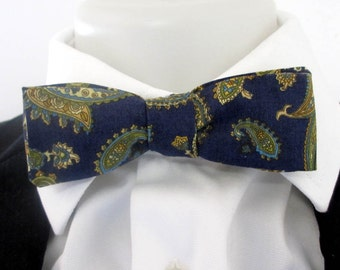 Men's  Reversable Skinny bowtie ~ Navy bowtie ~ one side paisley design ~ one side floral ~ self tie only