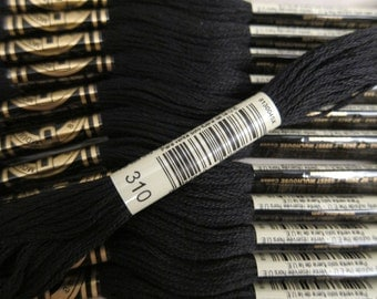 Black #310, DMC Cotton Embroidery Floss - 8m / 8.7 yd. Skeins - Available in Single Skeins, in Multi-Skein Pkgs and in Full (12-skein) Boxes