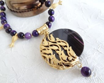 Purple Tiger Eye Necklace,Stone Jewelry,Purple Agate Pendants,Gold Tulip Frame,Elegance Necklace,Summer Fashion,OOAK, Mother's Day Gift