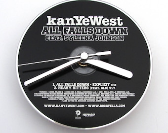 """KANYE WEST CD Clock, """"All Falls Down"""", Made from an recycled cd, Fun gift, for men, women, office worker, co worker, friend, black and white"""