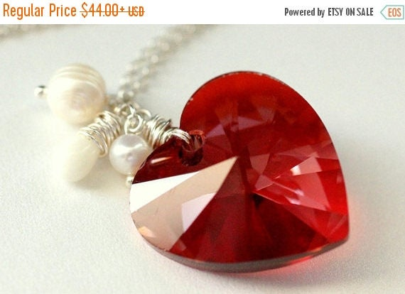 MOTHERS DAY SALE Large Crystal Heart Necklace. Red Swarovski Elements Necklace with Fresh Water Pearl and Coral Teardrop. Handmade Jewelry.