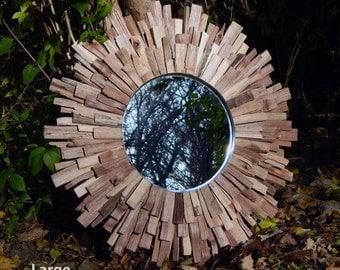 "27"" Natural Reclaimed Walnut Wood Sunburst Mirror, MADE to ORDER"