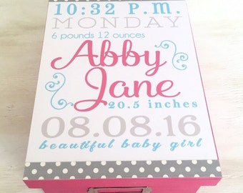 Memory Box Baby Stats Design - Baby Stats - Memory Box - Baby Girl Gift -Baby Memory Box - Keepsake Box - Baby Shower Gift - Baptism Gift