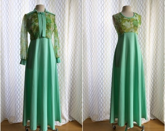 "Vintage 70s sage green dress & floral chiffon bolero set/ ""Secret Garden"" empire waist dress set"