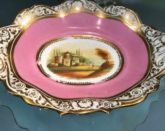 Antique Display Plate/Bridgewood and Son/Anchor Pottery/Circa 1850/Pink Border/Gilt Accents/Hand Painted Landscape Center/ Cabinet Display