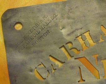 Rare 1800's Stencil , Boston , New York , Numismatics , Coin Collectors , Jos. H. Merriam ,Antique Brass stencil