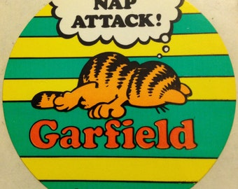 """Garfield """"Nap Attack"""" vintage sticker, 1978"""