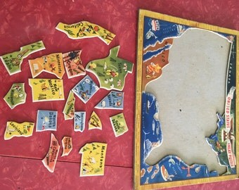 United States Puzzle Pieces with Puzzle Frame