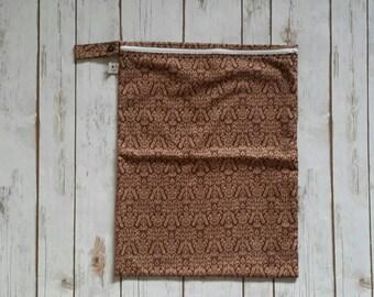 SALE Large Cloth Diaper Wetbag Brown Floral