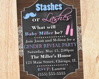 Stashes or Lashes Gender Reveal Party Invitation PRINTABLE baby shower invite digital boy or girl