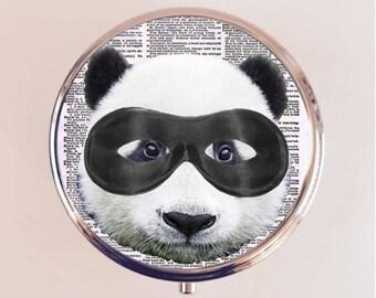 Super Hero Panda Pill Box Case Pillbox Holder Stash Trinket Box Anthropomorphic Animal Pop Art Kitsch