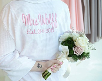 Personalised Robe; Wedding Robe; Personalised Wedding Robe; Bridal Robe; Gift for Bride; Robe with name; Waffle Weave robe; bridesmaid robes