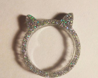 Super silver sparkle cat ring