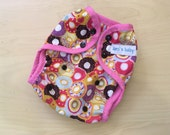 One Size Waterproof PUL Cloth Diaper Cover - Donuts