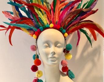 Pom pom headpiece- Feather Headdress -Carnival- Tribal -Music Festival- Burner Head piece- Pride- Rainbow Headpiece- Headdress NY.