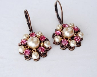 Rose Pink Rhinestone Earrings. Rhinestone Jewelry of Pearls & Crystals. Colorful Dangle Earrings. Gifts for Spring Summer. Pink Jewelry