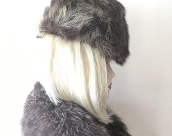 Brown fur hat| vintage fur | 50s pill box