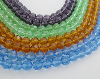 2-strands, 10mm Round faceted crystal beads, Blue, Light Green,Chocolate or Purple*. Free Shipping