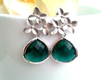 Emerald Green Wedding Earrings, Cherry Blossom Stud Earrings, Dangle, Drop Earrings,Gift,bridesmaid gifts,flower girl,Graduation Gift