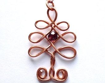Celtic Christmas Tree Pendant in Copper with Purple Swarovski Crystal