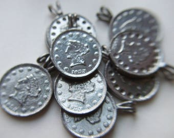 Silver Metal Coin Pendant Jewelry Supplies x 10 # GGGG 3-5