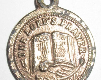 "Unique Antique Small POCKET Watch Fob with King James Version of The ""Lord's Prayer""  aka ""Our Father"""