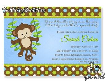 Monkey Boy Baby Shower Invitation   Little Monkey Baby Shower Invite   Jungle Baby Shower   Baby Boy Shower Invitation Printable