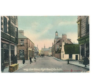 antique Scottish postcard of a street view of Carluke, Scotland, 1911