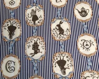 Alice in Wonderland Lecien Japanese Fabric Navy / Japanese Fabric - 110cm x 50cm