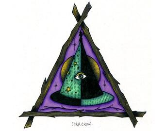 "Original Illustration 5x7"" - Witch Hat"