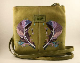 "Hand-Painted ""Plumdrop"" Leather Crossbody Bag"