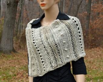 Cream Wrap, Knitted Wrap, Trendy Scarf, Women Accessories, Women Gift Ideas, Boho Wrap, Bohemian, Knitted Poncho