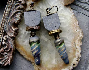 mixed media assemblage earrings with ceramic spikes and blue sponge bead, organic rustic handmade jewelry, washed denim blue, AnvilArtifacts