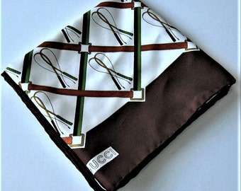"Vintage Gucci Equestrian Silk Scarf, Brown and White, Belt & Horse Whip, Made in Italy, 25 3/4"" x 25 3/4"", hand rolled hem, Made in"