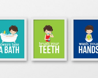 Boys Bathroom Rules, Bathroom Kids Decor, Brush Your Teeth, Wash Your Hands,