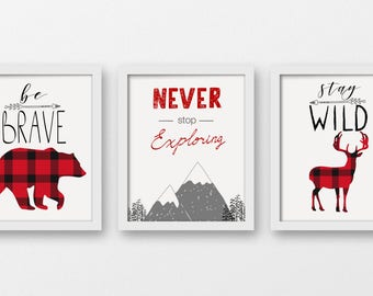 Be Brave, Never Stop Exploring, Stay Wild, Tribal Art Prints, Bear Deer Mountains Wall Decor, Woodland Decor, Mountains Art Prints, A-3104