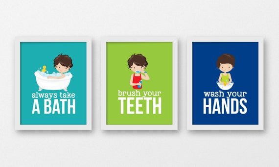 Bathroom Signs Brush Your Teeth boys bathroom rules bathroom kids decor brush your teeth
