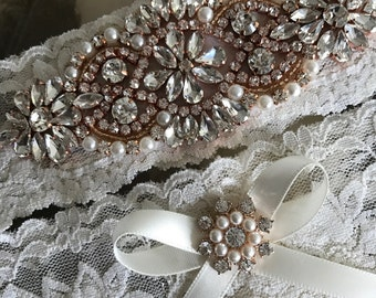 SALE-Wedding Garter-Garters-Ivory-ROSE GOLD-Gold-Rose Gold Applique-Garter-Rhinestone-Pearl garter-Keepsake-Ivory-bridal white-off-white
