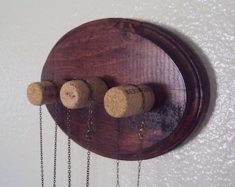 Bohemian Necklace Holder - Rustic Boho-Chic Jewelry Display - Wood & Wine Cork Jewelry Organizer - Decorative Wall Hanger - Gypsy Herb Rack