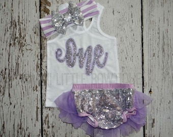 First Birthday lavender and silver Tank top- One birthday girl- 1st Birthday girl Outfit- Baby Girl Clothing-Lavender and silver birthday