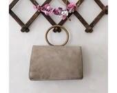 1940  Handbag taupe suede leather round handle / 40s french handbag