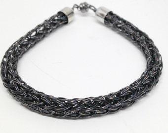 Mens or ladies black viking knit bracelet