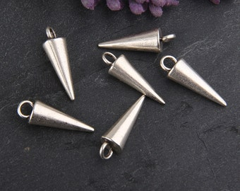 Silver Spike Drop Charms, Charm Supplies, Drop Charms, 6 pieces // SCh-137